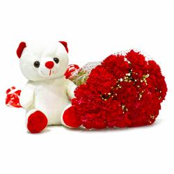 Fifteen Red Carnations Bouquet with Cuddly Bear