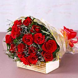 Fifteen Red Roses Bouquet