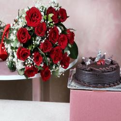 Fifteen Red Roses with Chocolate Cake