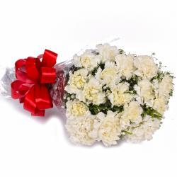 Fifteen White Carnations Hand Bouquet