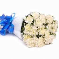 Fifteen White Carnations Tissue Wrapped