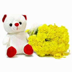 Fifteen Yellow Carnations Bouquet with Soft Toy