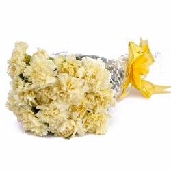 Fifteen Yellow Carnations in Hand Tied Bunch