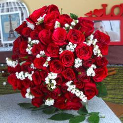 Fifty Fresh Red Roses Bouquet