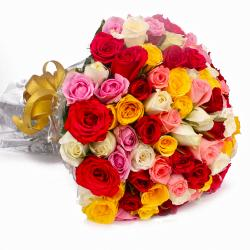 Fifty Multi Color Roses Hand Tied Bouquet