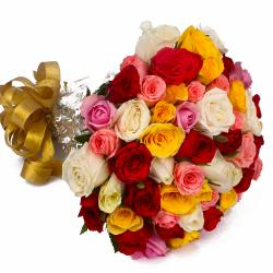 Fifty Multi Color Roses Round Bunch with Cellophane Packing