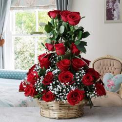 Fifty Red Roses Arrange in Basket