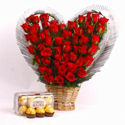 Fifty Red Roses Heart Shape arranged and Ferrero Rocher Chocolate Box