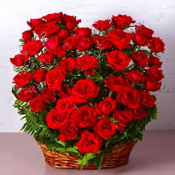Fifty Red Roses Heart Shape Basket Arrangements
