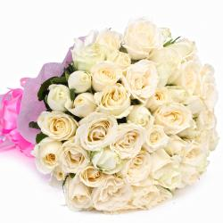 Fifty White Roses Bunch with Tissue Packing