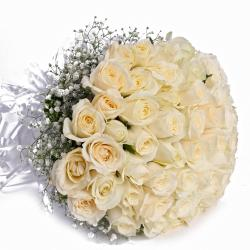 Fifty White Roses Hand Tied Bouquet