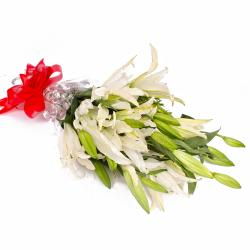 Five Stem of White Lilies in Cellophane Wrapping