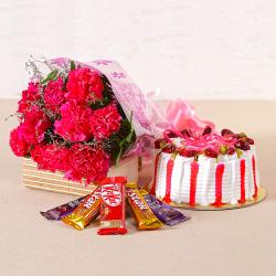 Flower Combo of Carnations, Cakes and Chocolates
