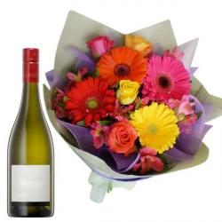 Flowers Bouquet with Champagne for My Sweet Heart