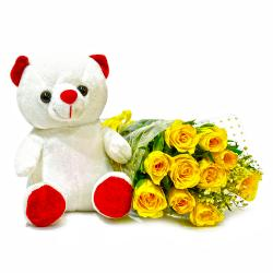 Forever 10 Yellow Roses with Cute Teddy Bear