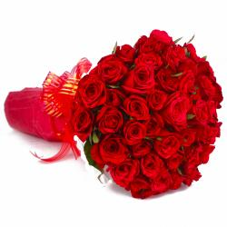 Forty Red Roses Bouquet with Tissue Wrapping