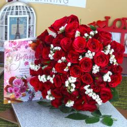 Forty Red Roses Bunch with Birthday Greeting Card