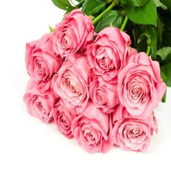 Fresh 10 Pink Roses In Bouquet