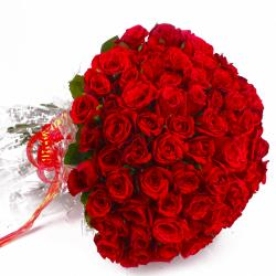 Fresh 100 Red Roses Bouquet with Cellophane Packing