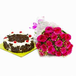 Fresh 20 Pink Roses with Black Forest Cake