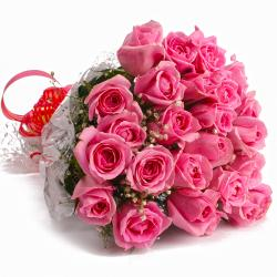 Fresh 25 Pink Roses Cellpohane Hand Tied Bouquet