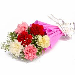 Fresh 6 Colorful Carnations in Tissue Wrapped