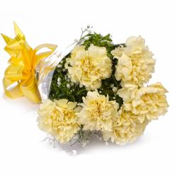Fresh 6 Yellow Carnations in Cellophane Packing