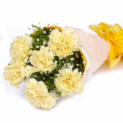 Fresh 6 Yellow Carnations in Tissue Wrapped
