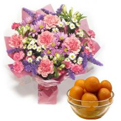 Fresh Carnation Bouquet with Gulab Jamun