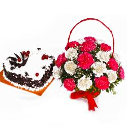 Fresh Carnations Basket with Heart Shape Black Forest Cake