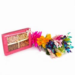 Fresh Exotic Flowers Bouquet with Crunchy Assorted Dryfruits