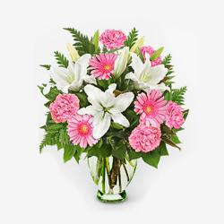 Fresh Flowers In Glass Vase