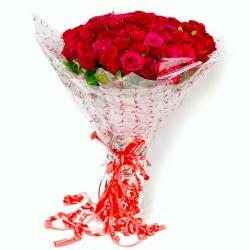 Fresh Long Stemmed 50 Red Roses Bouquet