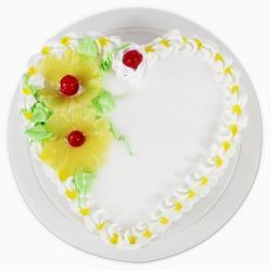 Fresh Pineapple Heart shape Cake