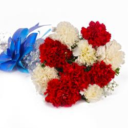 Fresh Red and White Carnations Bouquet