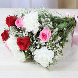 Fresh Roses and Carnations Bouquet