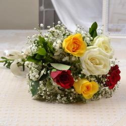 Fresh Six Colorful Roses Bunch