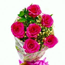 Fresh Six Pink Roses Bunch