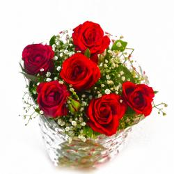Fresh Six Red Roses Hand Bunch