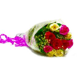 Fresh Ten Colorful Roses Bunch