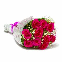 Fresh Ten Pink Roses Bunch