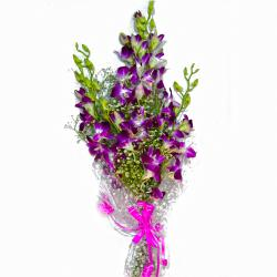 Fresh Ten Purple Orchids Bunch