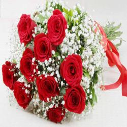 Fresh Ten Red Roses Bouquet