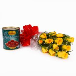 Fresh Twelve Yellow Roses Bouquet with Pack of Gulab Jamuns Sweet