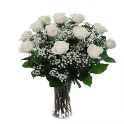 Fresh White Roses In Vase