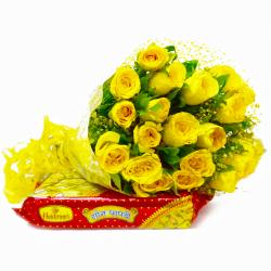 Friendly 20 Yellow Roses Bouquet with Soan Papdi