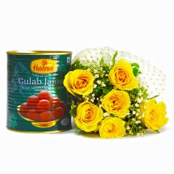 Friendly Six Yellow Roses with Mouthwatering Gulab Jamuns