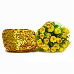 Friendship Yellow Roses Bouquet with Assorted Dry fruits