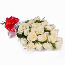 Garden Fresh 25 White Roses Bunch