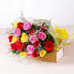 Garden Fresh Twenty Colorful Roses Bunch